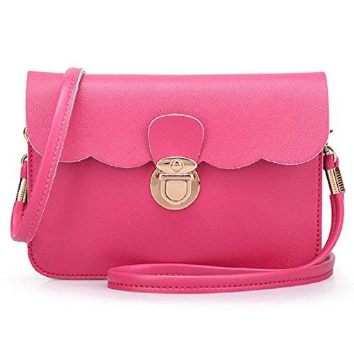 Vovotrade® Le donne di spalla del cuoio della borsa del Hobo Messenger (Rosa) rosa caldo