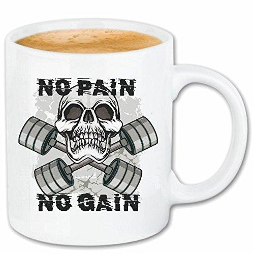 Reifen-Markt Kaffeetasse Testosterone - Bodybuilding - Fitness - Kraftsport - Muskelaufbau Keramik 330 ml in Weiß