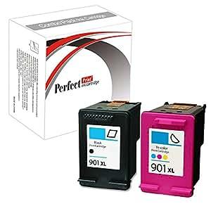 PerfectPrint Lot de 2 cartouches d'encre remanufacturées de remplacement Pour HP Officejet 4500 4500 All-In-One J-4500 4524 4535 4540 4550 4580 4585 4600 4624 4660 4680 4680C G-510a 510g 510n 901XL Noir/trois couleurs
