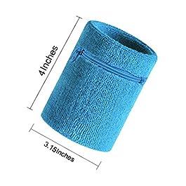 VENIMASEE Sport Spessa Braccialetto di Colore Solido con Cerniera/Portafoglio da Polso,2PCS Pack