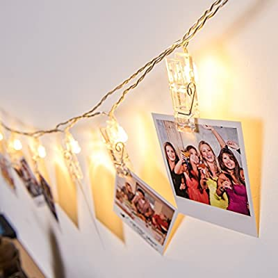 LED Photo Clip String Lights, DecorNova 16.4 Feet 20LED IP44 Waterproof 8 Modes Ornamental Fairy Lights, Battery Powered LED Picture Lights for Decoration Hanging Photo , Notes, Artwork, Warm White - low-cost UK light shop.