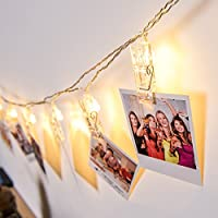 LED Photo Clip String Lights, DecorNova 16.4 Feet 20LED IP44 Waterproof 8 Modes Ornamental Fairy Lights, Battery Powered LED Picture Lights for Decoration Hanging Photo , Notes, Artwork, Warm White