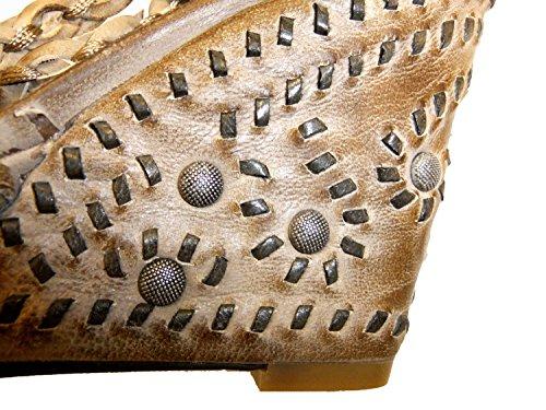 Ash Keilsandalette 73604 Leder Damen Italia Braun Taupe Mosaik braun 6q6FOzw
