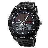 YAHE Sport Sonnenenergie Doppelzeit Im Freien anzeigen LED-Bewegung Männer Militäruhr, 165 FT Wasserdicht (schwarz)