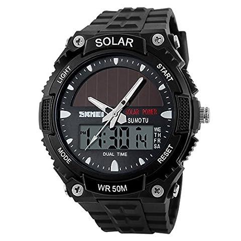 YAHE Des sports Énergie solaire Affichage double fois extérieur LED Movement Men Military Watch, 165 FT résistant à l'eau (Noir)