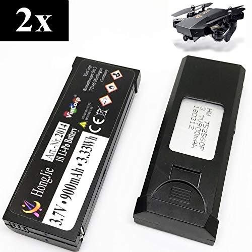 VinCorp 2X 3,7v 900mAh Lipo RC Akku Batterie Drohne TIANQU VISUO XS809W XS809S XS809HW