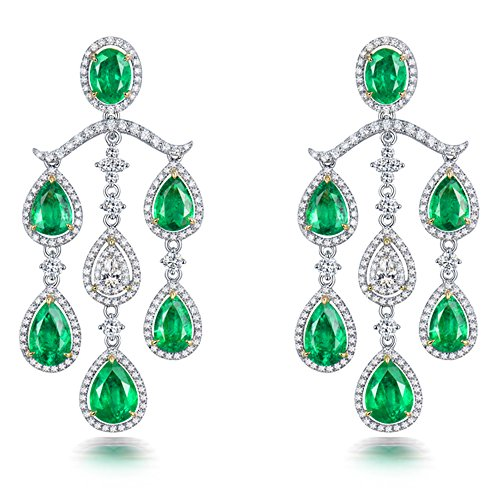 Massive 18K Two Tone Gold natürlicher Diamant Grün Smaragd Drop Ohrringe für Frauen Party (Tone Two Ohrringe)