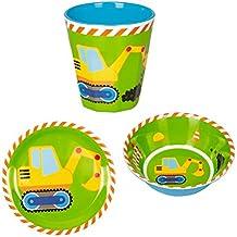Peque/ños Amigos Verde Cuenco Bowl Desayuno Cereales Excavadora 5cm x 14cm Vajilla Infantil Melamina