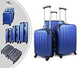 Leogreen - Juego de Maletas, Maletas Equipaje, Esquinas protegidas, 51 61 71 cm, Azul, ABS, Material: Plástico ABS, Peso: 3 kg (pequeño) 3,5 kg (mediano) 4,5 kg (grande)