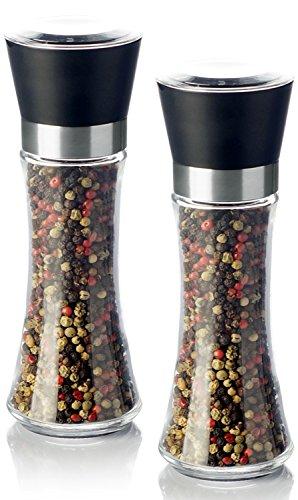 Pfeffermühle Salzmühle Gewürzmühle SET (2 STück) unbefüllt mit Keramik Mahlwerk - Echtglas Behälter (kein Acrylglas) - 200ml - Höhe 19cm - schwarz