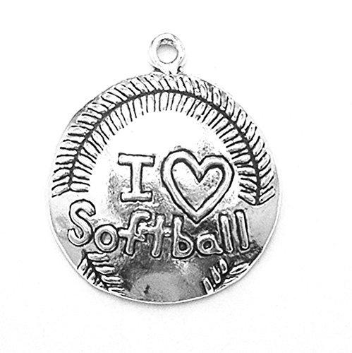 Softball Sterling Silber Charme (925Sterling Silber Homerun Sport