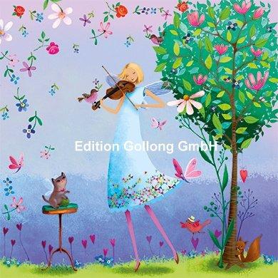 Postkarte-14x14cm-Mila-Marquis-Fee-spielt-Geige-Glimmerlack