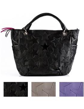 FEYNSINN shopper con manico STARS: borsa mano (tote bag) lavoro artigianale - borsa a spalla vera pelle nero (...