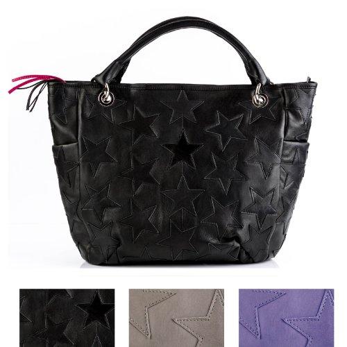 FEYNSINN shopper con manico STARS: borsa mano (tote bag) lavoro artigianale - borsa a spalla vera pelle nero (47 x 35 x 7 cm) nero Precio Barato Wiki Cuánto Cuesta Venta Muy Barato La Venta En Línea De Moda Ebay Para La Venta ZGzVj