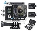 WiMiUS Q4 Action Camera, Fotocamera Subacquea 4k WiFi Full HD 16MP Action Sport Camera Impermeabile 40M con 2 Batterie e Kit di Accessori (Nero)