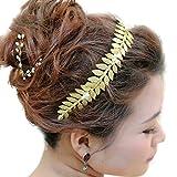 Gracewedding Fascia per capelli per spose e damigelle, motivo: foglie dorate con cristalli