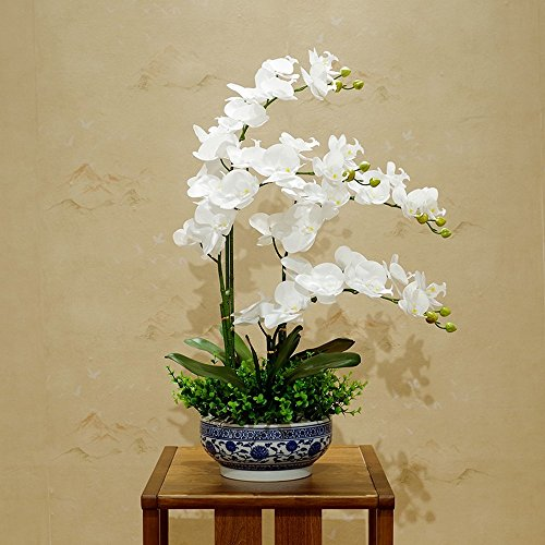 Jnseaol Kunstblumen Künstliche Blumen Phalaenopsis Hotel Hochzeit Dekoration Blau Und Weiß Porzellan Topf Diy Urlaub Geschenk Weiß-01