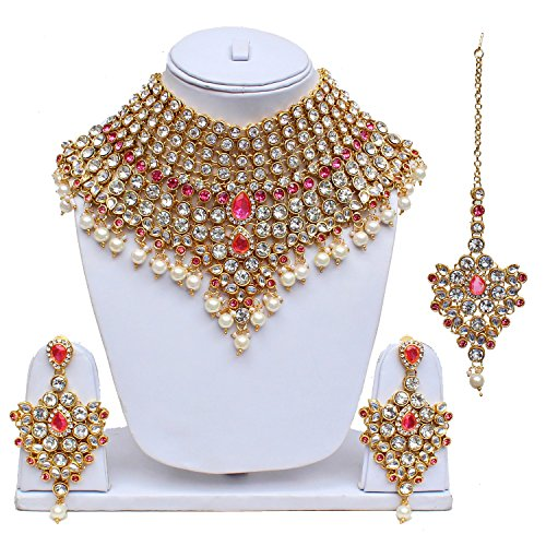 Lucky Jewellery Pink Semi Bridal Dulhan Wedding & Engagement Necklace Set with...