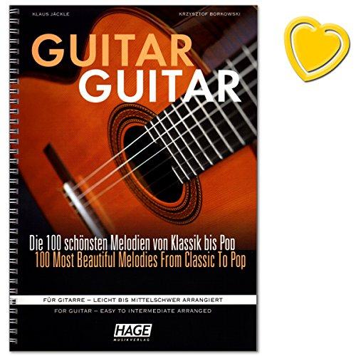 Preisvergleich Produktbild Guitar Guitar - Sammlung der 100 schönsten und beliebtesten Melodien aus Klassik, Liedern aus aller Welt, Evergreens, Pop-/Rock-Hits und Filmmusik - für Gitarre - leicht bis mittelschwer arrangiert - mit bunter herzförmiger Notenklammer