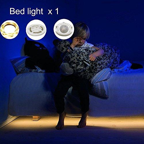 Bewegung aktiviert Bett Licht, GOCHANGE Flexible LED Streifenlicht, Auto Ein/Aus Bewegungsmelder Nachttischlampe, Bewegung aktivierte LED-Lichtleiste Einzeln