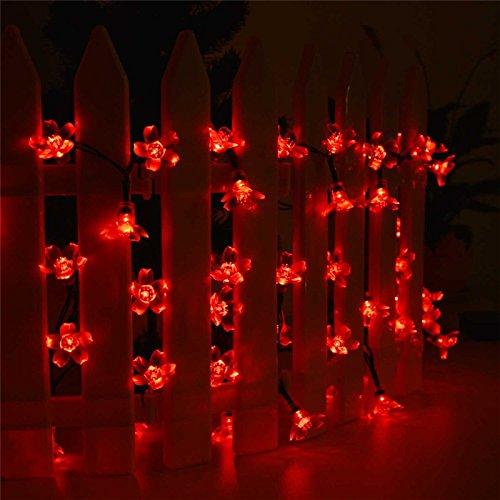 Neue 50 LEDS 7 M Peach Flower Solar Lampe LED-String Lichterketten Solar Girlanden Garten Weihnachten Dekor für Outdoor, Rot (Weihnachten Garten Dekor)