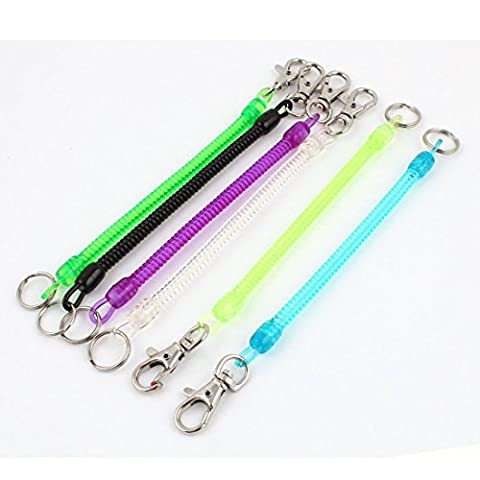 6pcs Multi Color Elastic Spring Coil Metal Ring Keychain Strap w Clasp