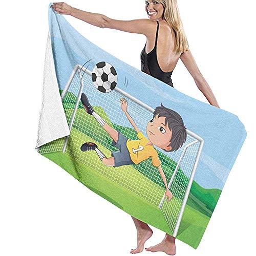 Babydo Toalla de Playa Niño Jugando al fútbol Albornoz Cubrir Toallas de Playa Estampados para Mujer...