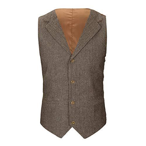 Plaid Vintage-anzug (Sannysis Anzugweste Herren Herbst Winter Lässige Tasche Beston Droit Mantel Männer Plaid Knopf Jacke Draussen Britische Anzug Weste Bluse Top Coat)