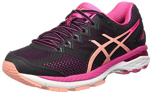ASICS Gt-2000 4 W, Chaussures Femme, Multicolore (Black/Peach Melba/Sport Pink), 37.5 EU