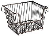 mDesign 3er-Set Allzweckkorb (groß) – der stapelbare Aufbewahrungskorb aus Metall – großer, offener Drahtkorb mit Griffen – für Küche, Speisekammer & Co. – bronze