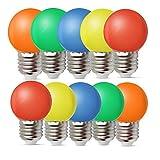 10er Pack E27 Schraubkappe Farbige Glühbirnen Lampen für Terrasse Party Weihnachten