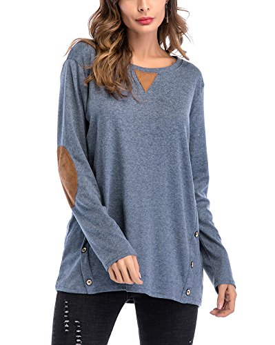 Minetom Damen Langarmshirt Oversize Pullover Rundhals Shirt Oberteile Top Lang Sweatshirt Blau DE 42 (Pullover Metallischen Kurze Ärmel)
