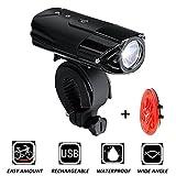 LED Fahrradbeleuchtung, Wasserdicht USB Fahrradlicht /Fahrradlampe Set von Senper, LED Fahrrad Frontlicht/Rücklicht mit 2000MAh Wiederaufladbarem Akku, 50 Meter Beleuchtung an Fahrrad und Helm