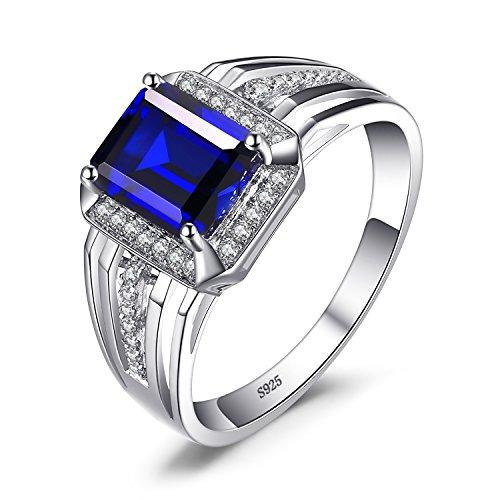Jewelrypalace 4.7ct Gentleman&Prinz Blau Synthetisch Luxus Saphir Herren Ringe Massivem Edelstein 925 Sterling Silber (Lab Ringe Silber Sterling Mit)