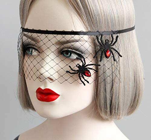 JJZHY Halloween Make-up Ball Party Spider Prinzessin Maske Spaß Augenmaske Schleier Schmuck,schwarz,Einheitsgröße