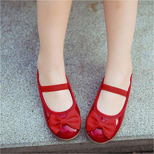Zhuhaitf Haute qualité Comfort Kids Flats Princess Shoes Girls Big Bowknot Casual Shoes red