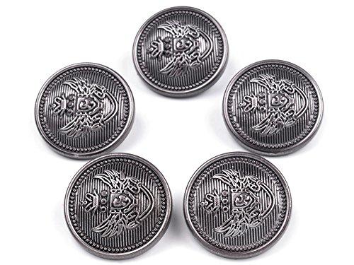 5 Kunststoff - Knöpfe, platin mit Embleme, ca. 25 mm (Emblem-knöpfe)