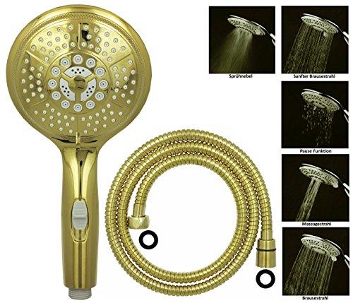dirks-traumbad Duschkopf 150cm Duschschlauch Handbrause Brausekopf Duschbrause Handdusche Gold Wassersparfunktion Brause Stabhandbrause