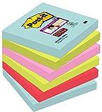 POST-IT pack de 6 blocs 90 notes adhésifs Super Sticky Notes 76x76 mm Collection Miami