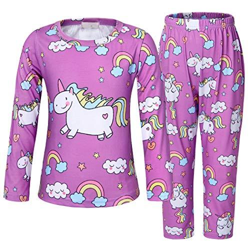 AmzBarley Einhorn Kostüm Kinder Mädchen Baumwolle Schlafanzüge Pjs Pyjama Gesetzt Nachtwäsche Lange/Kurze Ärmel Schlafanzugoberteile - Baumwolle Lange Ärmel Kostüm