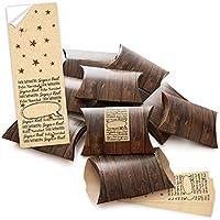 '10piccole scatole regalo effetto legno marrone con adesivo Banderole