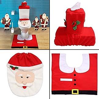 Mbuynow Decoración de la Navidad Santa WC Asiento Set Alfombra Tejido Caja Cubierta Conjunto Regalo