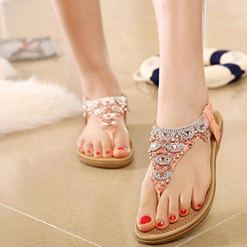 Women's Sandals ,Kaiki Frauen Bohe Rhinestone Art und Weise flache große Größen-beiläufige Sandelholze Strand-Schuhe Pink