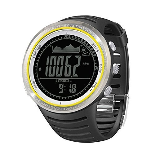 Orologio Sportivo - Sunroad Orologio Sportivo,multifunzione Guarda watch,con altimetro Pedometro Bussola Cronometro Pesca barometro Outdoor,5ATM impermeabile unisex LED digitale