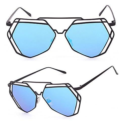 Dairyshop Art- und Weisefrauen-Sonnenbrille-leichte Weinlese-Schatten-Katzenauge übergroße Entwurfs-Sonnenbrille, graues Feld, blaues Objektiv