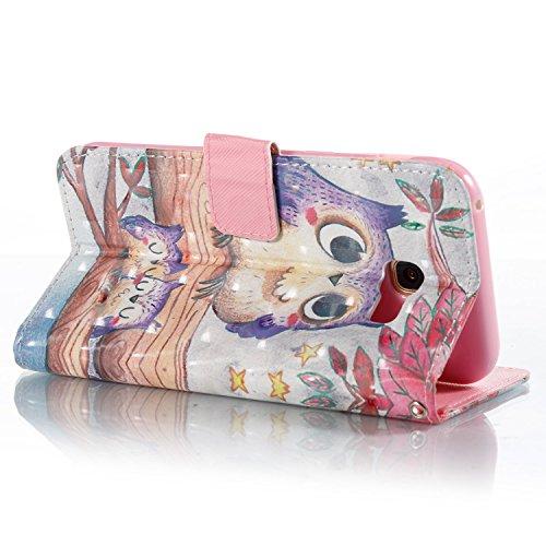 Galaxy A5 2017 Hülle,Grandoin® Handyhülle im Brieftasche-Stil für Samsung Galaxy A5 2017 Handytasche PU Leder Flip Cover 3D Bunte Muster Book Case Schutzhülle mit [aktualisierter TPU Innenschale] [Auf Eule