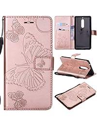 KKEIKO Nokia 5 Hülle, Nokia 5 Leder Handyhülle Schutzhülle [ mit Gratis Panzerglas Schutzfolie ], Schmetterling Muster Stoßsichere Lederhülle Brieftasche Case für Nokia 5 - Roségold