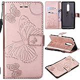 BoxTii® Coque Nokia 5 avec [Gratuit Protection D'écran en Verre Trempé], Etui en Cuir de Première Qualité avec Les Fentes de Carte et Stand pour Nokia 5 (#1 Or Rose)