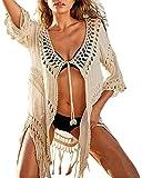 Damen hohle Design Strandkleider mit Quaste bikini Cover Ups Badeanzug Strandkleidung Beige