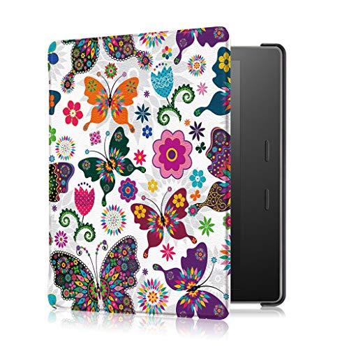 Für Kindle Oasis 10. Generation (2019 Modell) und 9. Generation (2017 Modell) Hülle,Colorful Slim Lightweight Schutzhülle mit Auto Sleep/Wake Funktion (Schmetterling) -